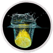 Splashing Lemon Round Beach Towel