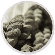 Spliced And Bound Black And White Sepia Round Beach Towel