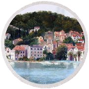 Split Harbour Croatia Round Beach Towel