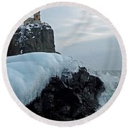 Round Beach Towel featuring the photograph Split Rock Lighthouse Winter by James Peterson