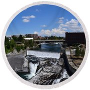 Spokane Falls And Riverfront Round Beach Towel