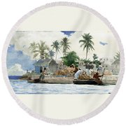 Round Beach Towel featuring the painting Sponge Fishermen by Winslow Homer