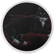 Spooky The Cat Round Beach Towel by Michele Myers