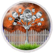 Round Beach Towel featuring the mixed media Spoon Tree by Ally  White