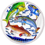 Sportfish Collage Round Beach Towel by Carey Chen