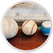 Sports - Game Balls Round Beach Towel by Art Block Collections