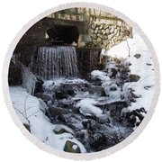 Round Beach Towel featuring the photograph Spot Brook by Robert Nickologianis