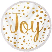 Spotted Gold I Round Beach Towel