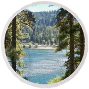 Forrest Mountain Trees Lake Scenic Photography Lake Gregory San Bernardino California - Ai P. Nilson Round Beach Towel