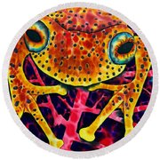 Spotted Tree Frog Round Beach Towel