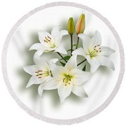 Spray Of White Lilies Round Beach Towel by Jane McIlroy