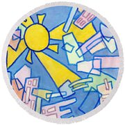 Summer In The City #2 Round Beach Towel