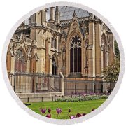 Spring And Notre Dame In Paris Round Beach Towel