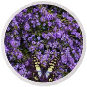 Spring Butterfly Round Beach Towel