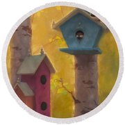 Spring Chickadees 2 - Birdhouse And Birch Forest Round Beach Towel