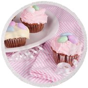Cupcakes With A Spring Theme Round Beach Towel by Vizual Studio