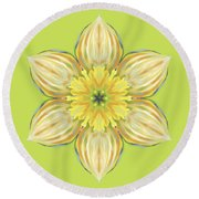 Spring Daffodil Abstract Round Beach Towel
