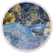 Round Beach Towel featuring the photograph Spring Drawing A Line In The Ice  by Brian Boyle