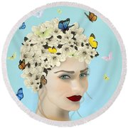 Spring Face - Limited Edition 2 Of 15 Round Beach Towel by Gabriela Delgado