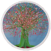 Round Beach Towel featuring the painting Spring Fantasy Tree By Jrr by First Star Art