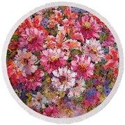 Spring Flower Bouquet Round Beach Towel