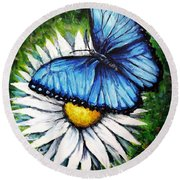 Round Beach Towel featuring the painting Spring Has Sprung by Shana Rowe Jackson