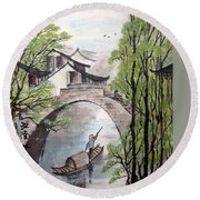 Round Beach Towel featuring the photograph Spring In Ancient Watertown by Yufeng Wang
