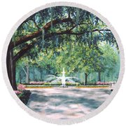 Spring In Forsythe Park Round Beach Towel