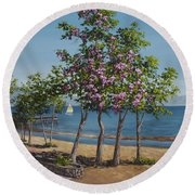 Spring In Kings Beach Lake Tahoe Round Beach Towel