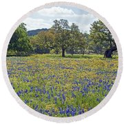 Spring In The Texas Hill Country Round Beach Towel