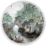 Round Beach Towel featuring the photograph Spring In Watertown by Yufeng Wang
