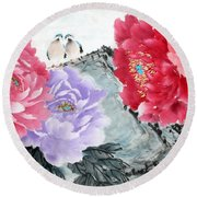 Round Beach Towel featuring the photograph Spring Melody by Yufeng Wang