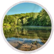 Spring Mill Lake Round Beach Towel