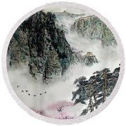 Round Beach Towel featuring the photograph Spring Mountains And The Great Wall by Yufeng Wang