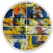 Round Beach Towel featuring the painting Spring Part One by Sir Josef - Social Critic - ART