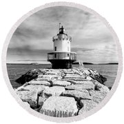 Spring Point Ledge Light In Black And White Round Beach Towel