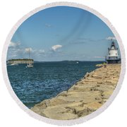 Round Beach Towel featuring the photograph Spring Point Ledge Lighthouse by Jane Luxton