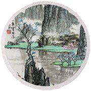 Round Beach Towel featuring the photograph Spring River II by Yufeng Wang