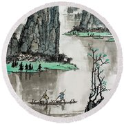 Round Beach Towel featuring the photograph Spring River by Yufeng Wang