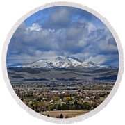 Spring Snow On Squaw Butte Round Beach Towel