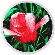 Round Beach Towel featuring the painting Spring Solo by Barbara Jewell