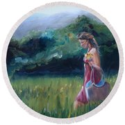Round Beach Towel featuring the painting Spring Stroll by Donna Tuten