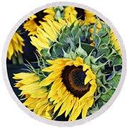 Spring Sunflowers Round Beach Towel