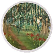 Spring Trail Round Beach Towel