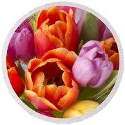 Spring Tulips Round Beach Towel