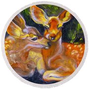 Spring Twins 2 Round Beach Towel