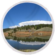 Ridge Over Burgess Res Divide Co Round Beach Towel