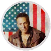 Springsteen American Icon Round Beach Towel by Dan Sproul
