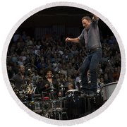 Springsteen In Motion Round Beach Towel