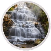 Springtime At Benton Falls Round Beach Towel